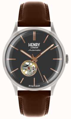 Henry London Bracelet en cuir noir automatique cadran bleu homme HL42-AS-0281