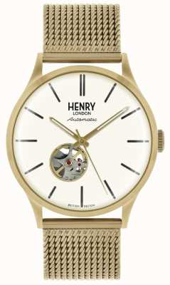 Henry London Mens automatique bracelet en maille or ton blanc cadran HL42-AM-0284