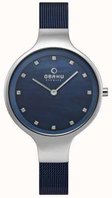 Obaku Womens sky watch bleu bracelet en maille V173LXCLML
