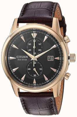 Citizen Bracelet chronographe homme en cuir marron CA7003-06E