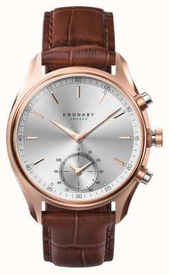 Kronaby 43mm sekel * vu dans gq bluetooth rosegold / cuir smartwatch A1000-2746