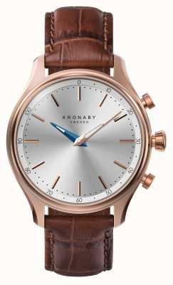 Kronaby 38mm sekel bluetooth rose bracelet en cuir doré smartwatch A1000-2748