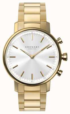 Kronaby 38mm carat bluetooth bracelet en or cadran argenté smartwatch A1000-2447