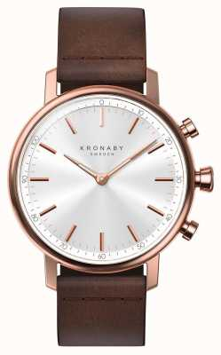 Kronaby 38mm carat bluetooth rose bracelet en cuir doré smartwatch A1000-1401