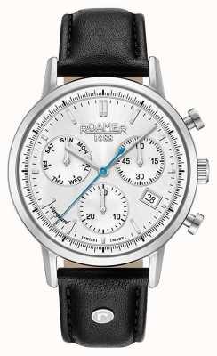 Roamer Vanguard chrono ii bracelet en cuir noir cadran blanc 975819411509