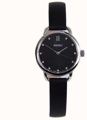 Seiko Womens classique boîtier en acier inoxydable bracelet en cuir noir SUR699P1