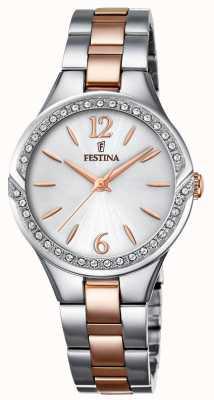Festina Womens deux tons bracelet en acier inoxydable cadran argenté F20247/1