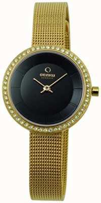 Obaku Bracelet en acier doré de 27 mm pour femmes et boîtier en quartz V146LGBMG2