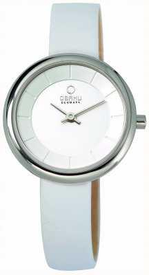 Obaku Wille Stille blanc cadran blanc bracelet en cuir V146LCIRW