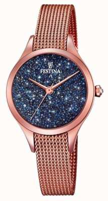 Festina Womens mademoiselle rose or pvd maille swarovski cadran F20338/3