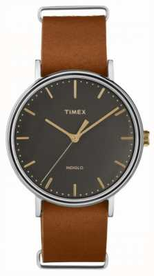 Timex Fairfield 41mm bracelet en cuir marron etui en chrome TW2P97900