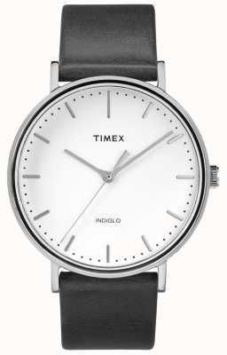 Timex Fairfield 41mm bracelet en cuir noir / cadran blanc TW2R26300