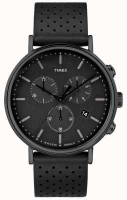 Timex Fairfield chrono bracelet en cuir noir / cadran noir TW2R26800