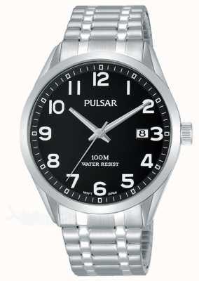Pulsar Bracelet extensible en acier inoxydable cadran noir pour homme PS9563X1