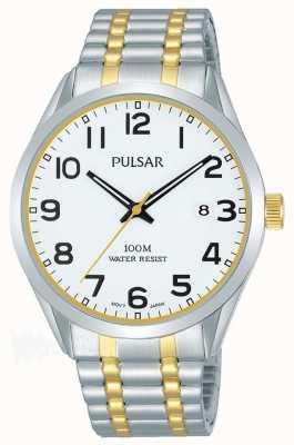 Pulsar Mens deux tons bracelet date cadran PS9565X1