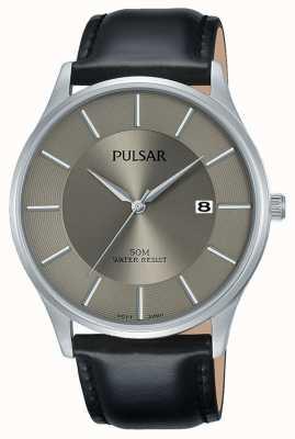 Pulsar Affichage de la date de l'affaire en acier inoxydable bracelet en cuir noir PS9545X1