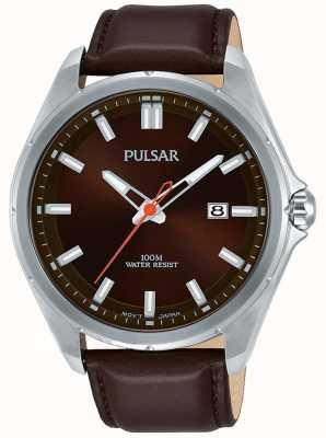 Pulsar Bracelet en cuir marron en acier inoxydable PS9555X1