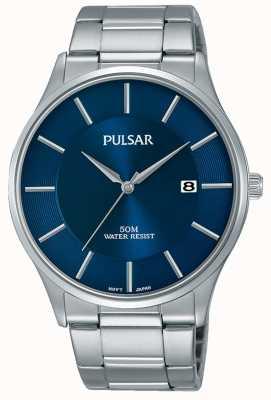 Pulsar Affichage de la date du cadran bleu en acier inoxydable PS9541X1