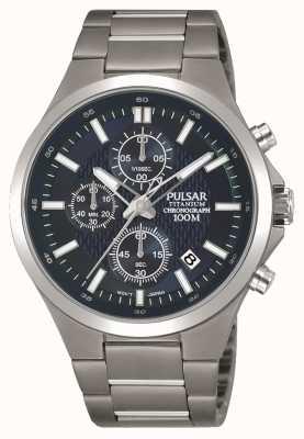 Pulsar Bracelet titane homme bleu chronographe PM3109X1