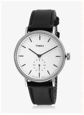 Timex Fairfield sub-second étui argenté cadran blanc bracelet noir TW2R38000
