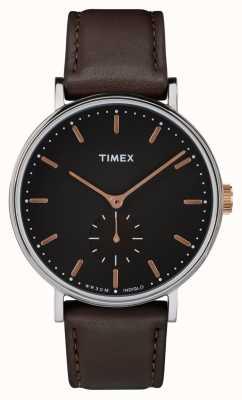 Timex Boîtier Fairfield Silvertone noir et bracelet marron TW2R38100