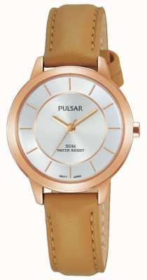 Pulsar Womens rose plaqué or bracelet en cuir beige PH8374X1