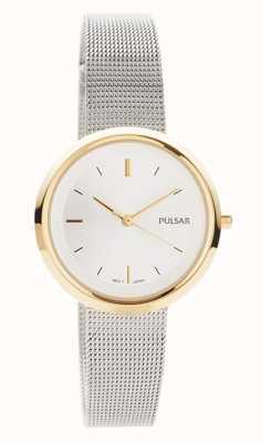 Pulsar Femmes | bracelet en maille d'acier inoxydable | boîtier rond en or | PH8386X1