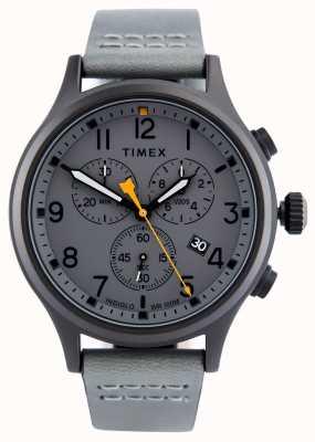 Timex Bracelet en cuir chrono gris allié / cadran gris TW2R47400