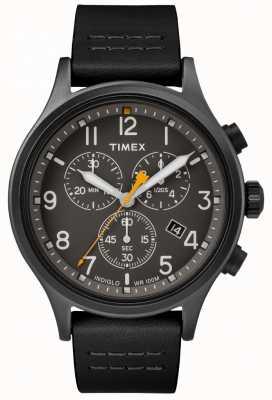 Timex Bracelet en cuir noir chrono allié / cadran noir TW2R47500