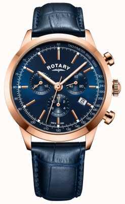 Rotary Montre cambridge chronographe pour homme en cuir bleu GS05257/05