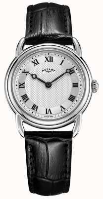 Rotary Womens canterbury bracelet en cuir noir en acier inoxydable LS05335/21