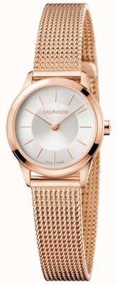 Calvin Klein Mesdames rose maille or bracelet bracelet cadran blanc K3M23626