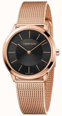 Calvin Klein Mesdames minimal rose bracelet en maille or rose cadran noir K3M2262Y