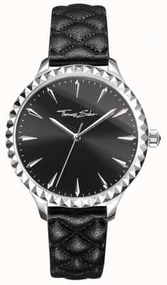 Thomas Sabo Womens rebel at heart watch bracelet en cuir noir cadran noir WA0321-203-203-38