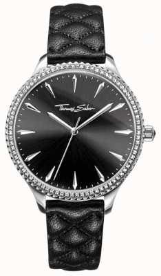 Thomas Sabo Montre Rebel at Heart pour femme bracelet en cuir noir cadran noir WA0322-221-203-38
