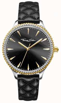 Thomas Sabo Womens rebel at heart watch bracelet en cuir noir cadran noir WA0323-221-203-38