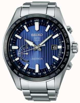 Seiko Astron solaire gps cadran bleu bracelet en acier inoxydable SSE159J1