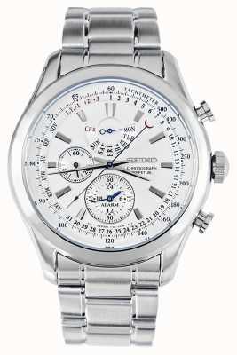 Seiko Alarme chronographe montre argent bracelet blanc cadran SPC123P1