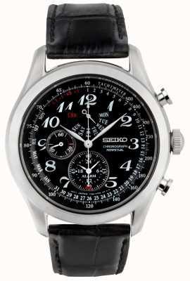 Seiko Montre chronographe homme noir cadran noir bracelet en cuir SPC133P1