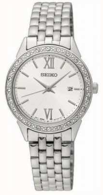 Seiko dames bracelet en métal argenté cadran blanc SUR695P1