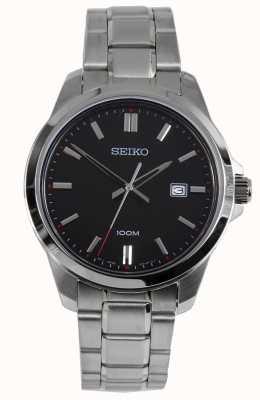 Seiko Montre habillée homme bracelet argenté cadran noir SUR245P1