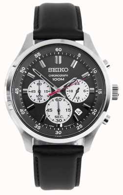Seiko Montre chronographe sport pour homme bracelet en cuir noir cadran noir SKS595P1
