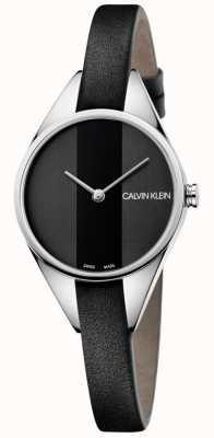 Calvin Klein Mesdames rebelle montre bracelet en cuir noir mince K8P231C1