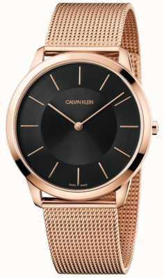 Calvin Klein Montre à cadran noir en or rose minimaliste avec bracelet en maille K3M2T621