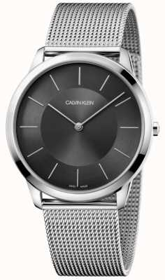 Calvin Klein Mens minimal bracelet en acier inoxydable inoxydable bracelet à cadran noir K3M2T124