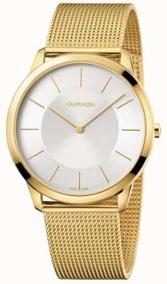 Calvin Klein Mens minimal bracelet en maille or jaune montre argent cadran K3M2T526