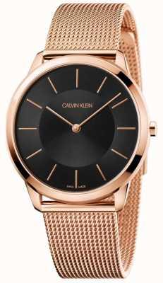 Calvin Klein Montre à cadran noir en or rose minimaliste avec bracelet en maille K3M2162Y