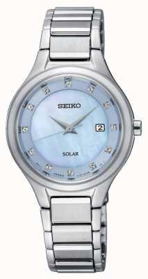 Seiko Womens coutura solaire argent bracelet cadran bleu clair SUT351P9