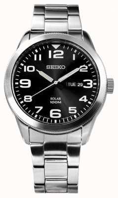 Seiko Bracelet argent solaire homme noir cadran noir SNE471P1