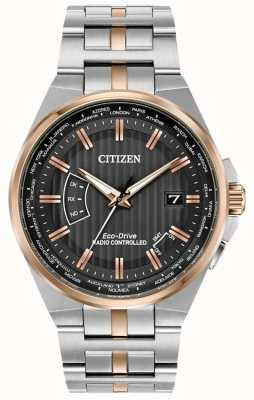 Citizen Mens World Perpetual en acier inoxydable et or rose IP CB0166-54H